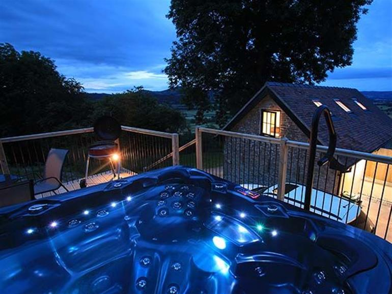Hot tub at Bishop's Castle Barn, Banks Head near Bishop's Castle