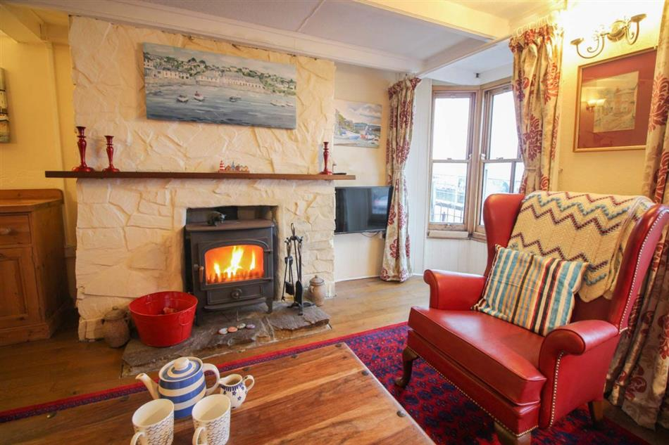 Living room in Cornerstone Cottage, Mousehole