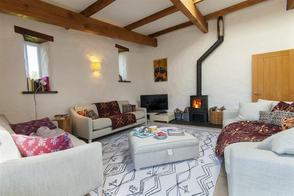 Living room in Joyful House (Ty Llawen), Abereiddy
