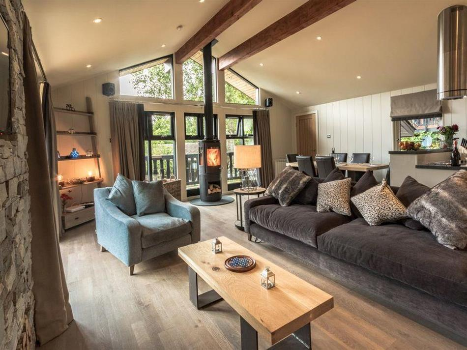 Living room in Loch Tay Highland Lodges - Waterfall Lodge, Killin