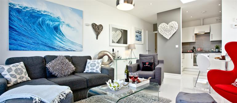 Living room in Luna Blue, Tre Lowen, Newquay