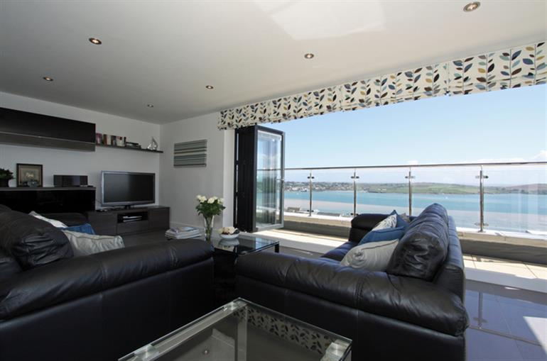 Living room in The Penthouse at Padstow, Padstow