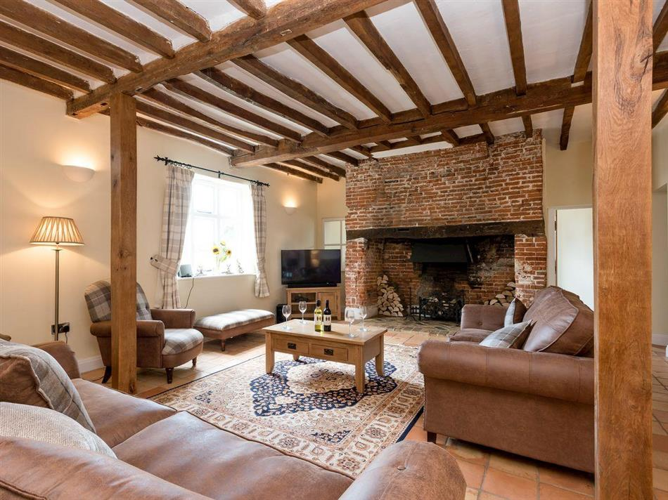 Living room in Three Horseshoes House, Scottow near North Walsham