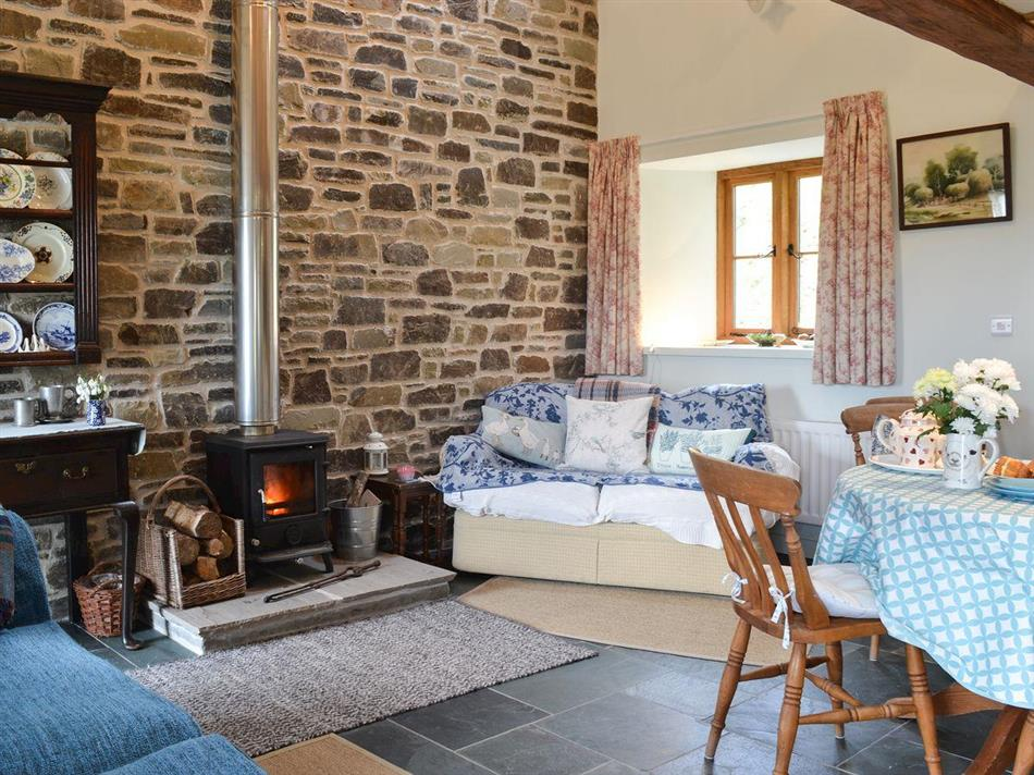 Living room with a wood burner in Swallow Barn, Geufron, near Llanwrtyd Wells, Powys