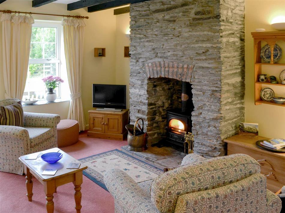 Living room with wood burner at Willow Cottage, Edmonton, near Wadebridge