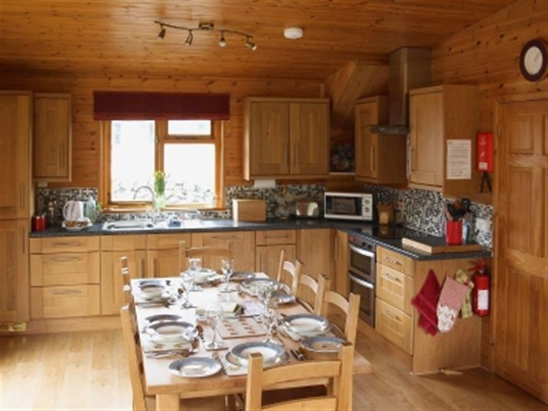 The kitchen in Pinder at Hoe Grange Lodges, Brassington near Matlock