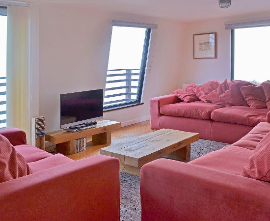 The living room at Seacliff Cottage in Strete near Dartmouth