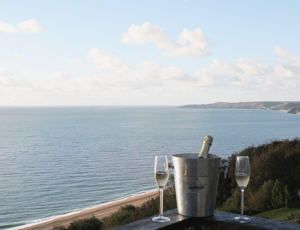 Views out over the sea from Seacliff Cottage in Strete