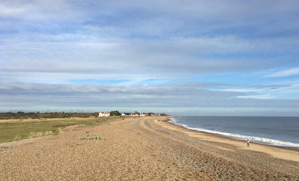 The beach between Aldeburgh and Thorpeness - you can see Thorpeness in the distance
