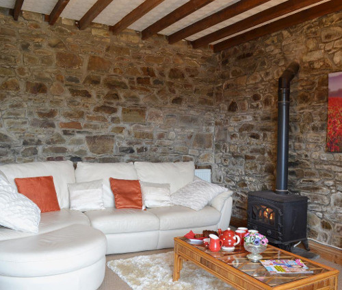 The living room with a wood burning stove at Ty Coch Cottage, Aberaeron