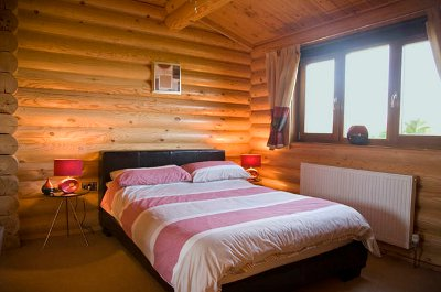 One of the bedrooms at Laxfield Lodges