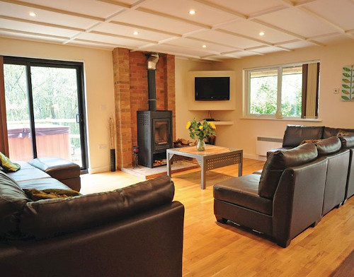 The living room, complete with wood burning stove, at a lodge in Ramshorn Estate Woodland Lodges