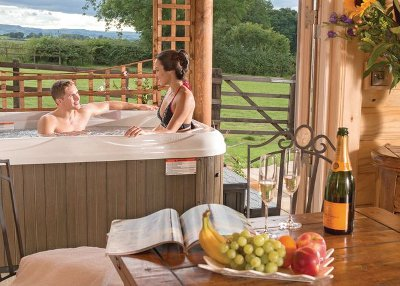 Relax in the hot tub at Sun Hill Lodges, North Yorkshire