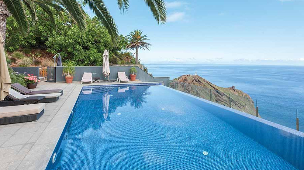 The infinity pool at Tranquila in Garajau, Madeira